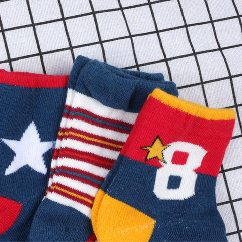 Blue-Red Stripe Print Socks 5-in-1 Set