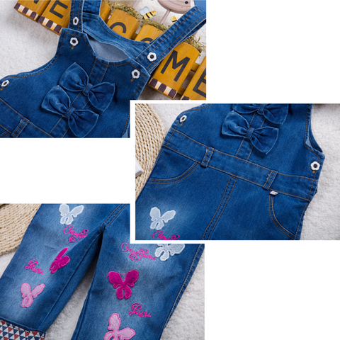 Bow and Butterfly Denim Overalls