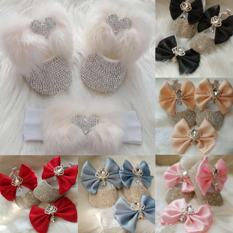 Bowknot Beaded Baby Shoes Set