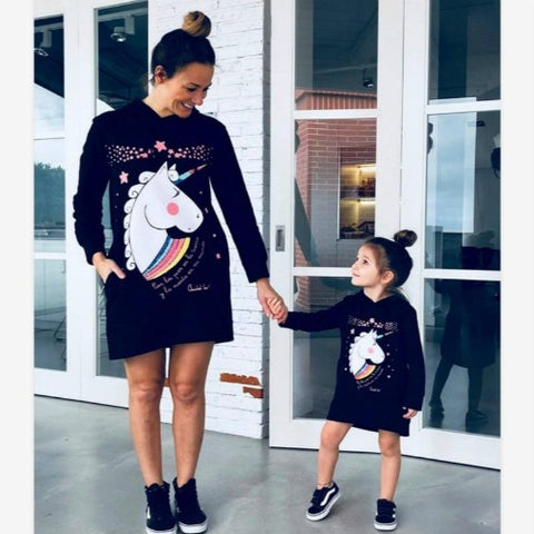Unicorn Print Hoodie Dress