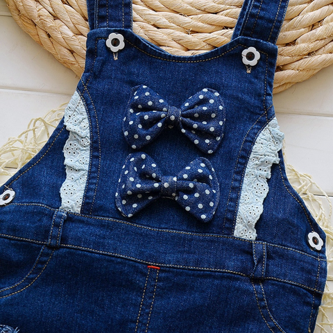 Bow and Bunny Denim Overalls