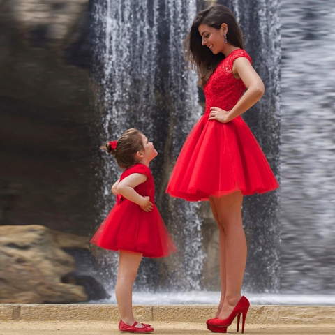 Lace Top Red Cocktail Mom & Me Dress