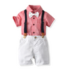 Short Sleeve Plain Overalls Set
