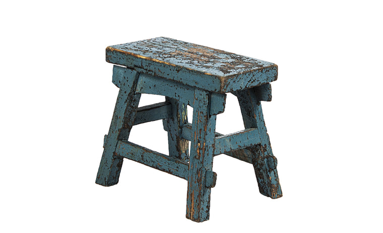 Blue Footstool - VINTAGE JOURNEY MARKET - Upcycling & Restoration