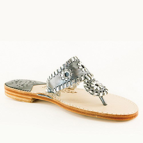 Palm Beach Classic Sandals, Gunmetal/Silver - VINTAGE JOURNEY MARKET - Upcycling & Restoration