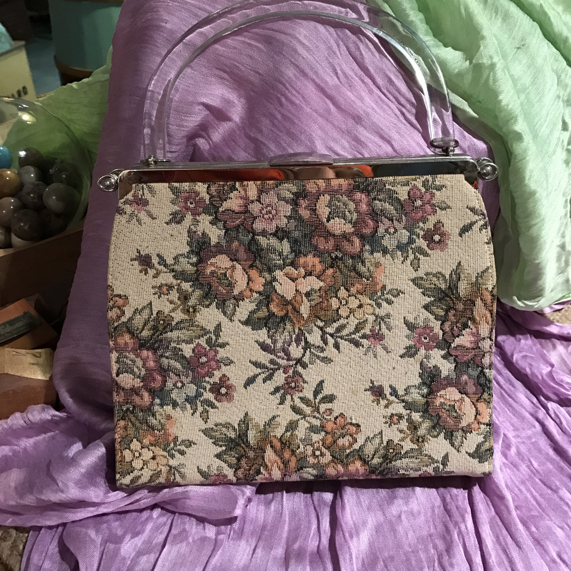 Vintage Tapestry Inspired Fabric Handbag with Clear Lucite Handle - VINTAGE JOURNEY MARKET - Upcycling & Restoration
