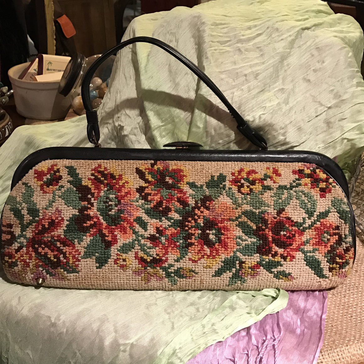 Vintage Tapestry Handbag with Black Leather Edging - VINTAGE JOURNEY MARKET - Upcycling & Restoration