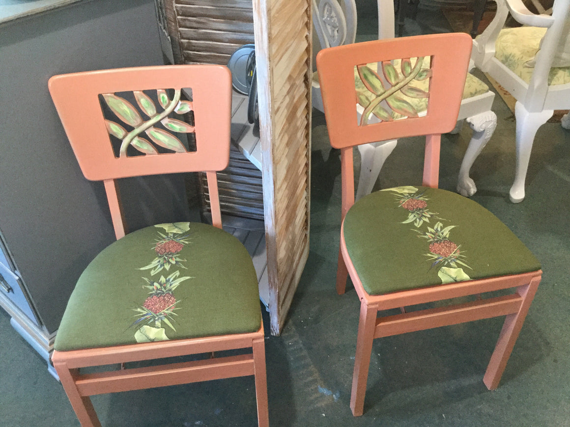 Chair folding with pineapple fabric - VINTAGE JOURNEY MARKET - Upcycling & Restoration