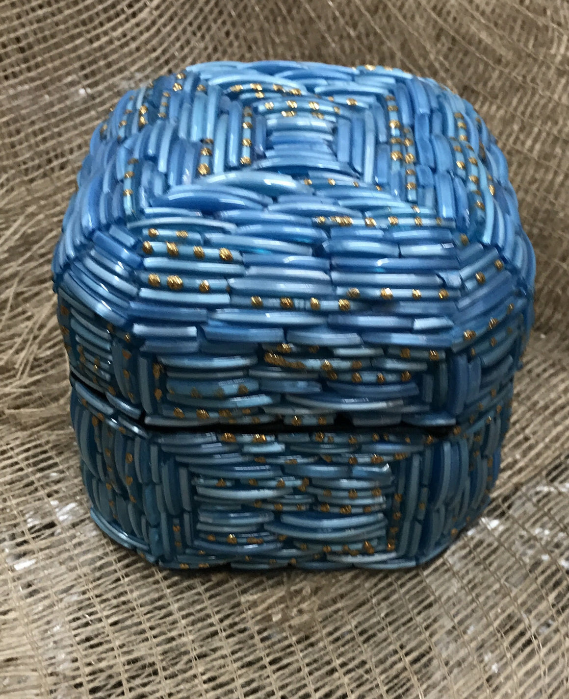 Crystal Blue Jewelry or Trinket Box - VINTAGE JOURNEY MARKET - Upcycling & Restoration