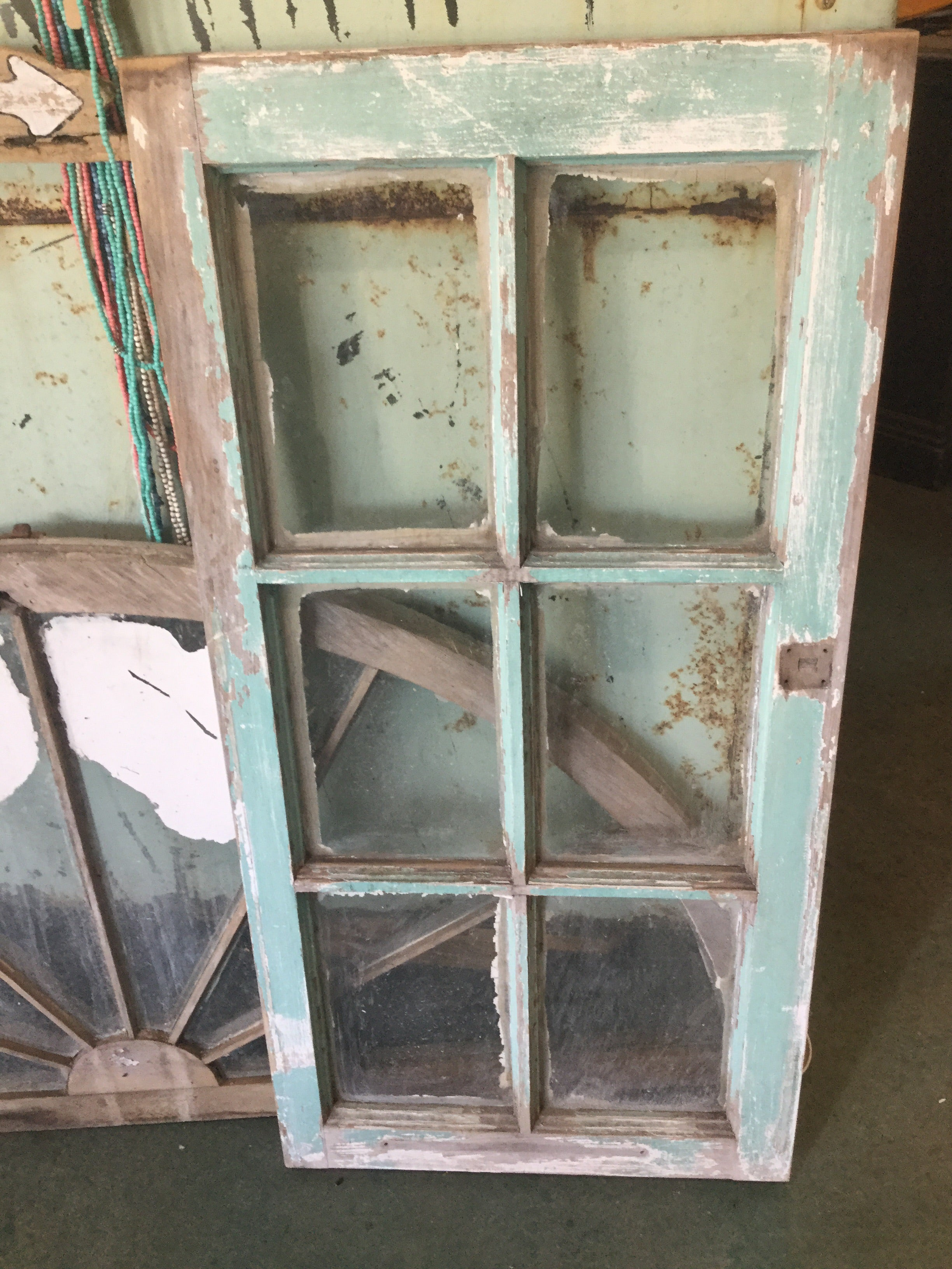 6 pane teal window frame - Vintage Journey Market