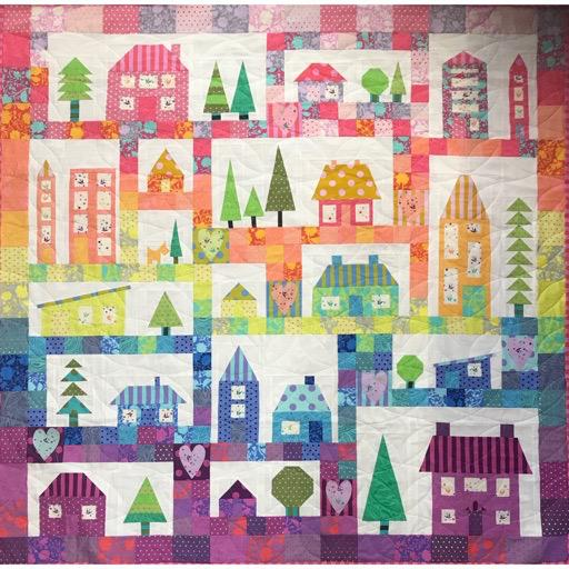 "RPHouses Quilt Pattern using Tula True Colours - over 50pages - 64"" square"