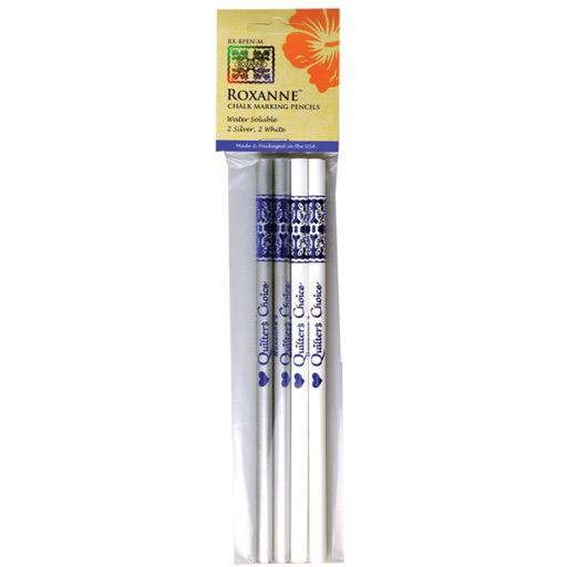 Roxanne Chalk Marking Pencils - 2 Silver, 2 White
