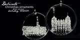 SPUN GLASS handmade Ornament of LDS Temple