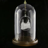 "4.5""x7"" Ornament Display Glass Dome with Walnut Base"