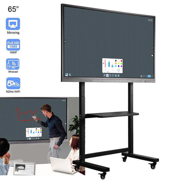 65 inches Touch Interactive Presentation Electronic White Board  LCD Screen+Rolling Mounted