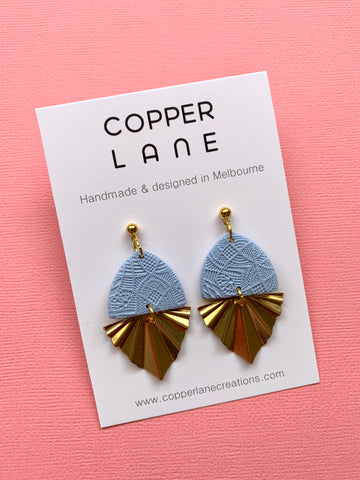 Embossed Fan Earrings - Dusty Blue