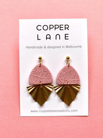 Embossed Fan Earrings - Dusty Pink