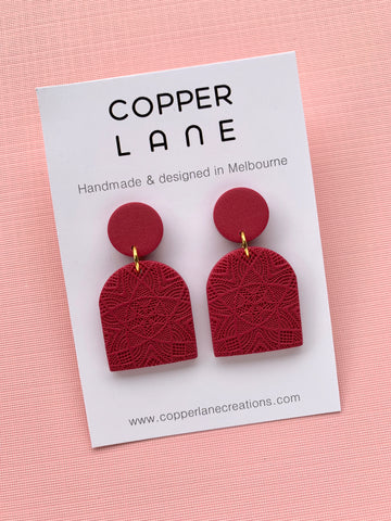 Embossed Arch Earrings - Merlot