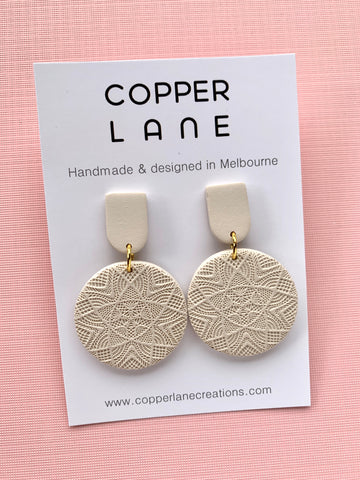 Embossed dangle Earrings - Stone