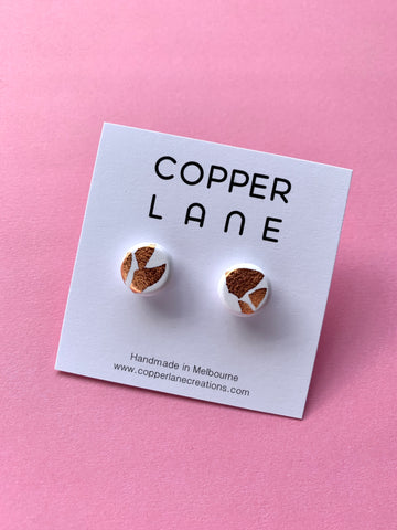 Copper White Stud Earrings