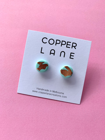 Mint Copper Stud Earrings