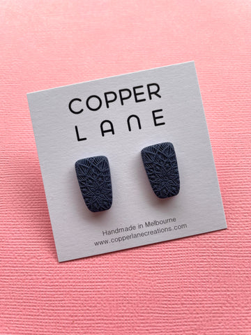 Small Embossed Trapeze Stud Earring - NAVY