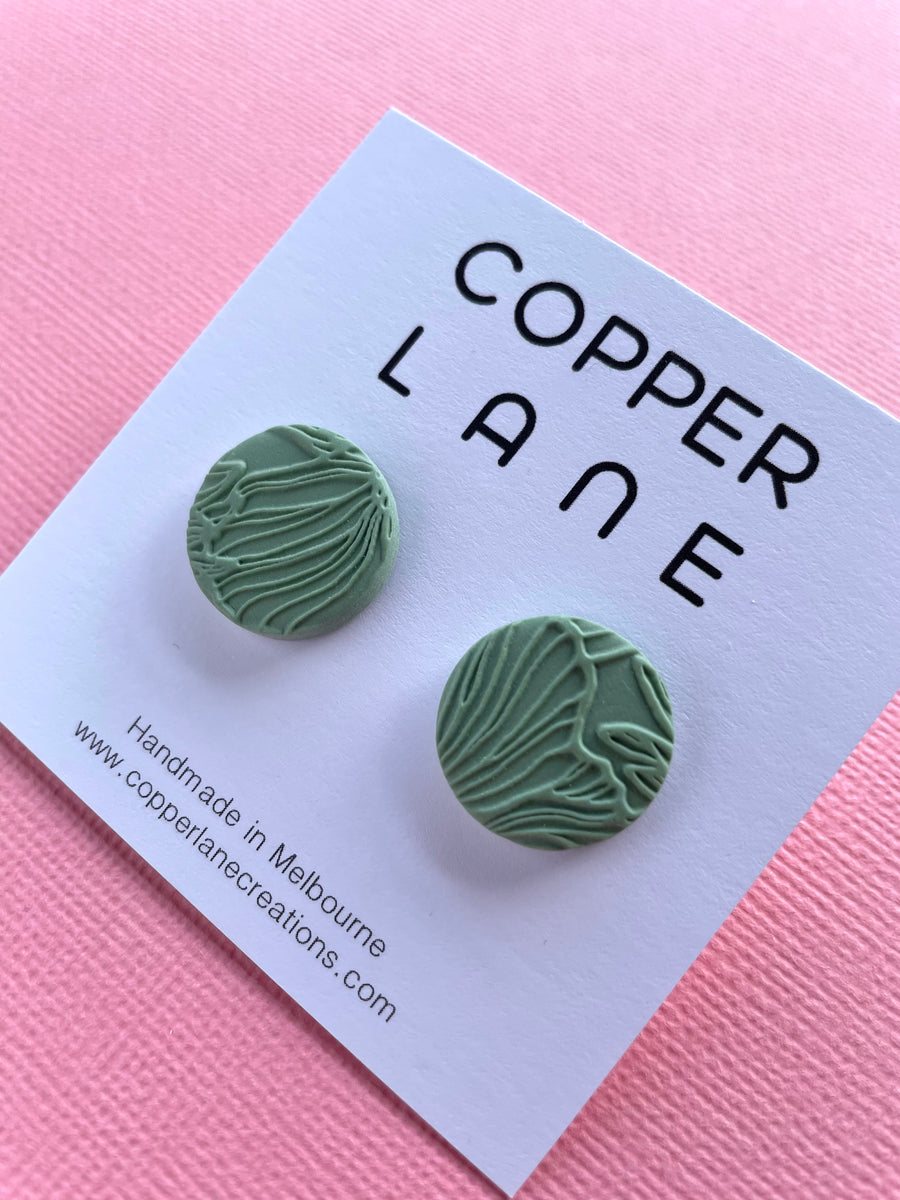 Flora Circle Small Stud Earring - MOSS