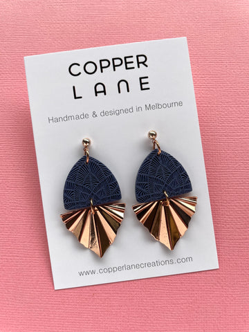 Embossed Fan Earrings - Navy/Rose Gold