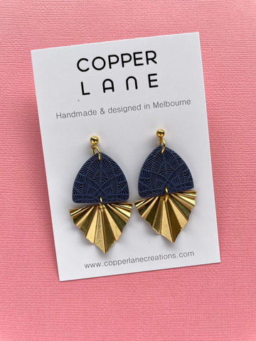 Embossed Fan Earrings - Navy/Brass