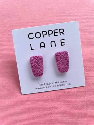 Small Embossed Trapeze Stud Earring - PINK