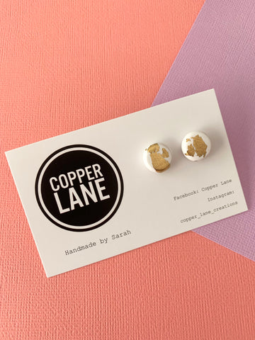 Gold White Stud Earrings