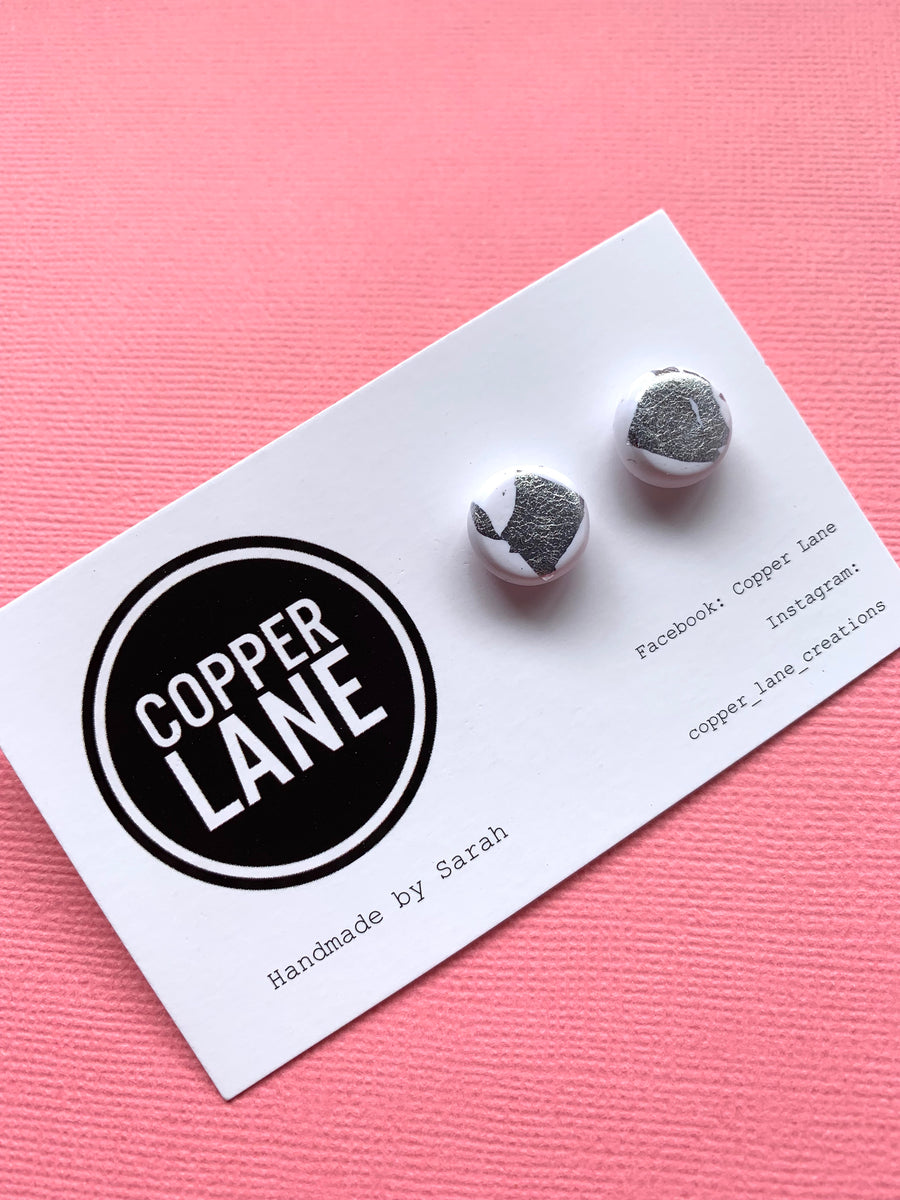 Silver White Stud Earrings
