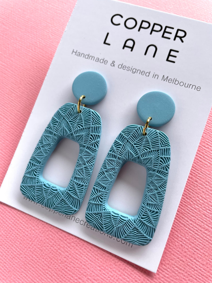 Anna Embossed Earring - Maya Blue