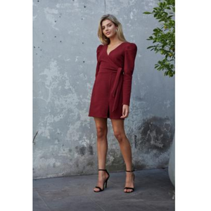 Textured Puff Sleeve Dress
