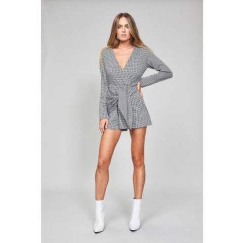 Houndstooth Skort Playsuit