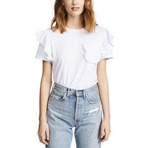 White Ruffle Pocket Tee