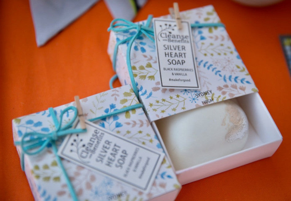 Silver Leafed Heart Soap, Cleanse By Hepzabeth