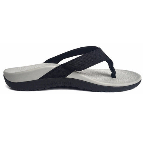 Foot Bio-Tec Shore Series Black Orthotic Thongs Mens Womens