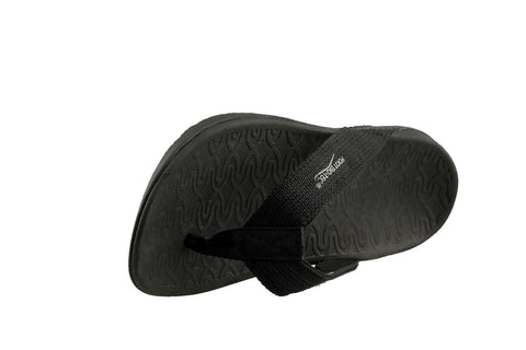 Foot Bio-Tec Shore Series All Black Orthotic Thongs Mens Womens