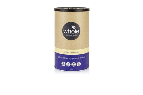 Whole Live Nutrients Grass Fed Whey Vanilla Coconut Milk 450g