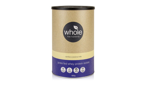 Whole Live Nutrients Grass Fed Whey Vanilla Coconut Milk 900g
