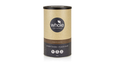 Whole Live Nutrients Protein Isolate Muscle Build Cacao Coconut 450g