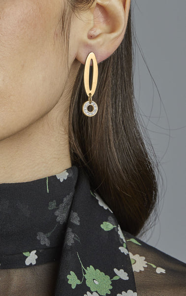 Petite Paper Clip Earrings with Circle Stone