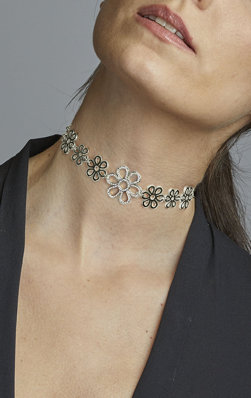 Flower Choker with Center Pave Piece