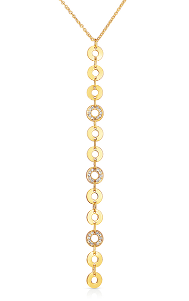 Mini Circle Vertical Pendant With Three Pave Pieces