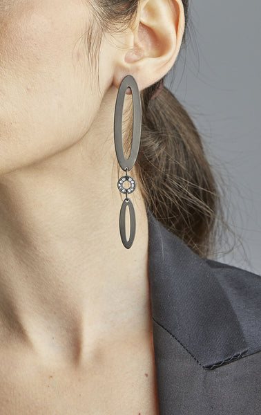 Three Part Paper Clip Earrings with Stone Center