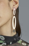 Three Part Paper Clip Earrings with Bottom Stone