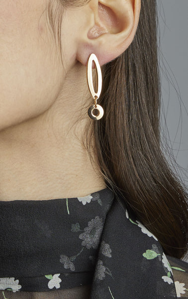 Petite Paper Clip Earrings with Circle