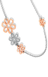 Mixed Metals Flower Chain Necklace with Pave Pieces