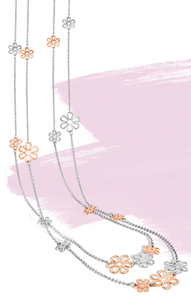 Mixed Metals Flower Chain Necklace
